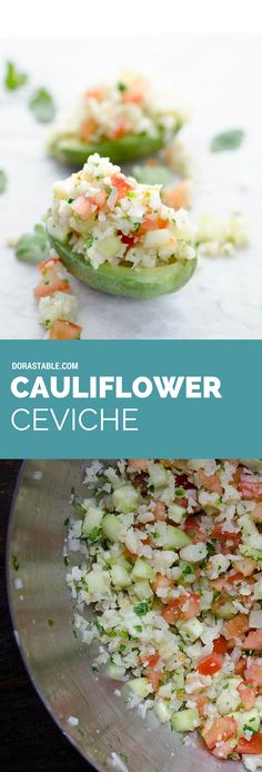 No Tomatoes. This cauliflower ceviche is a tangy, spicy, and refreshing Mexican appetizer. Serve with tostadas or chips, and avocado. Vegan Mexican Recipes, Raw Food Recipes, Veggie Recipes, Vegetarian Recipes, Cooking Recipes, Healthy Recipes, Freezer Recipes, Freezer Cooking, Drink Recipes