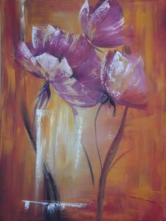 Flores esgrafiadas en Magenta - Técnicas mixta pincel y espátula