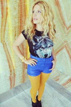 wolf tee and houndstooth print tights! Canine Chic!