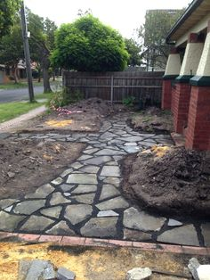 How to lay a recycled concrete path   GardenDrum