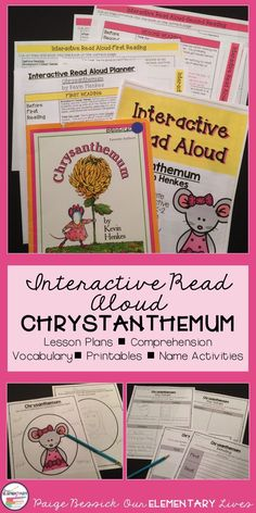 Back to School Interactive Read Aloud for Chrysanthemum by Kevin Henkes. It includes lesson plans, in-depth comprehension, retelling worksheets, vocabulary, mini-charts and a getting to know you activities. Perfect for K-2. This resource will make planning your IRA fast and easy. It even meets the common core and is just print and go and has a template and detailed directions for printing on sticky notes. Your kids are going to love this one!