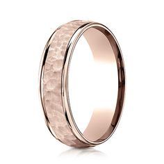 6mm 14K Rose Gold Hammered Benchmark Wedding Band