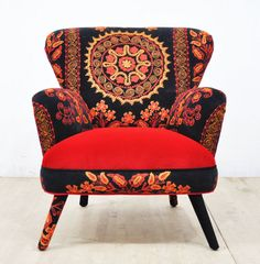 Suzani Armchair  scarlet I by namedesignstudio on Etsy