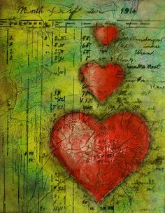 Red Hearts in Pan Pastel with accounting ledger as background collage Mixed Media Journal, Mixed Media Canvas, Art Journal Pages, Art Journals, Decoupage, Paper Art, Paper Crafts, Arte Popular, Art Journal Inspiration