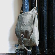 Hand Waxed Canvas Messenger Bag - Recycled Military Duffle.