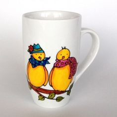 Angels, Mugs, Patterns, Create, Tableware, Illustration, Design, Spoons, Hand Painted Mugs