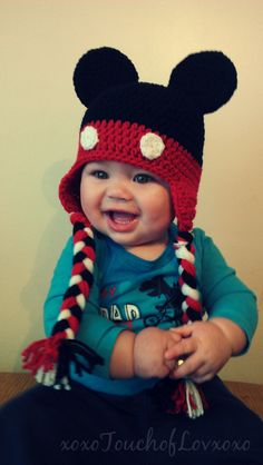 Mickey Mouse inspired Hat with ear flaps - 2014 Winter Beanies for Girls