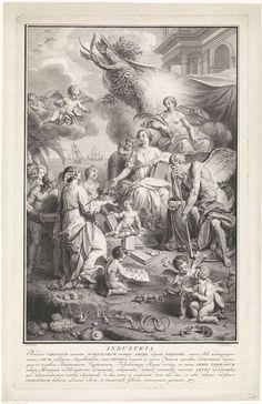 Pieter Tanjé | Industria bijgestaan door Kennis, Waarheid en Tijd, Pieter Tanjé, 1716 - 1761 | Industria, met vleugels op het hoofd, wordt bijgestaan door Kennis, met een boek onder haar arm, Waarheid, met de zon op haar hoofd, en Vader Tijd. Op de achtergrond zit Cybele met haar hoorn des overvloeds en staat een bijenkorf, ten teken van de vlijt. De schepen op het water duiden op de handel en zeevaart, die Industria bevorderen. Op de voorgrond putti ten midden van dieren, koraal en…