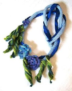 Irish Crochet Necklace in Blue
