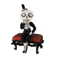 Albagore Skeleton Doll. Cloth Halloween Dolls by Joe Spencer at TheHolidayBarn.com