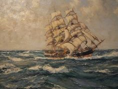 Cool Oil On Canvas images - A few nice Oil on Canvas images I found: Antiope Clipper Ship by Montague Dawson British Oil on Canvas Image by mharrsch Photographed at the Ventura County Maritime Museum in Ventura, California. The size Montague Dawson, Nautical Artwork, Ship Map, Sea Storm, Vintage Boats, Stormy Sea, Tall Ships, Model Ships, Ventura California
