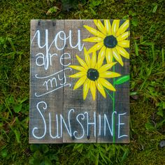 You are my Sunshine wall art Sunflower decor Sunflower painting Rustic kitchen decor Summer decor Best friend gift Girlfriend gift Wife gift by SimplyPallets on Etsy https://www.etsy.com/listing/385233814/you-are-my-sunshine-wall-art-sunflower