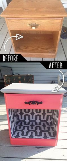 DIY Furniture Makeovers - Refurbished Furniture and Cool Painted Furniture Ideas for Thrift Store Furniture Makeover Projects | Coffee Tables, Dressers and Bedroom Decor, Kitchen | Color and Wallpaper Night Desk Revamp | http://diyjoy.com/diy-furniture-makeovers #thriftstorefurniture #refurbishedfurniture