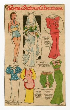 78.2379: Jane Arden's Wardrobe   paper doll   Paper Dolls   Dolls   Online Collections   The Strong