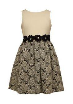 Bonnie Jean Ivory Ponte Jacquard Dress Girls 4-6x
