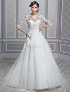 ❀ A-Line Princess Wedding Dresses Bridal Gown Half Sleeve Crew-Neck Floor-Length Organza With Sweep Train | Riccol ❤