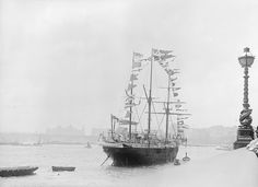 The RNVR Training Ship 'Buzzard' moored in the River Thames at the Embankment