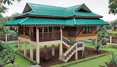 บ้าน thai style house House On Stilts, Tiny House Cabin, Cottage House Plans, Dream House Plans, House Roof, Bamboo House Design, Tropical House Design, Tropical Houses, Thai House
