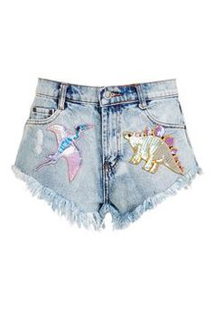 Sequined Dinosaur Denim Shorts from Topshop R760,00