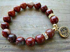 Gemstone Stretch Bracelet, Jasper, Gold, Clear Rhinestone Stacking Bracelet, Women'Jewelry, Boho Chic, Beaded Bracelet by BeJeweledByCandi, $37.00