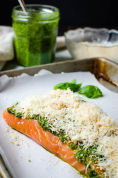 parmesan and panko crusted salmon ready to bake.