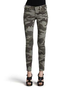 Casey Stretch Camo Low-Rise Super Skinny Pants, Women's, Size: 32, Desert Sand - True Religion