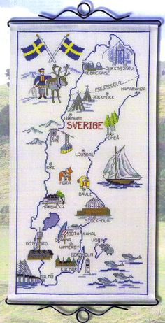 Map of Sweden - cross stitch kit by Permin of Copenhagen - An attractive pictorial wall hanging showing features of the country - cities, buildings and symbols. Cross Stitching, Cross Stitch Embroidery, Cross Stitch Patterns, Sweden Map, State Crafts, Cross Stitch Numbers, Swedish Decor, Pictorial Maps, Cross Stitch Landscape