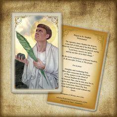 St. Stephen The Protomartyr Holy Card / Prayer Card, Catholic Art