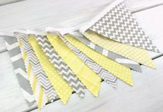 Bunting Fabric Banner, Fabric Flags, Nursery Decor, Birthday Decoration, Baby Shower - Yellow, Grey, Gray, Chevron, Gingham - Ready to Ship