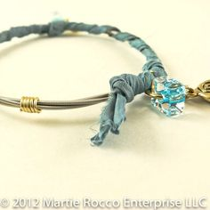 Guitar String bangle bracelet with turquoise color sari wrap