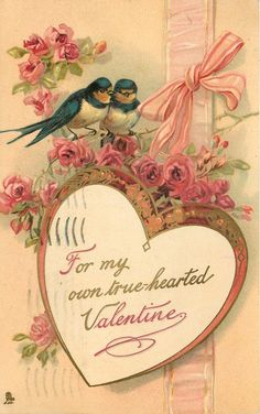 Beautiful Valentine postcard ~ 2 birds above heart and roses, with pink ribbon in background.  1912