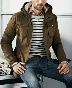 Mens utility jacket, Striped sweater, Gingham shirt, Jeans, Boots