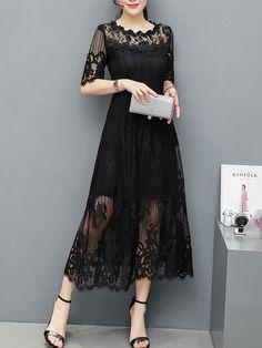 Round Neck See-Through Plain Lace Maxi Dress-Berrylook