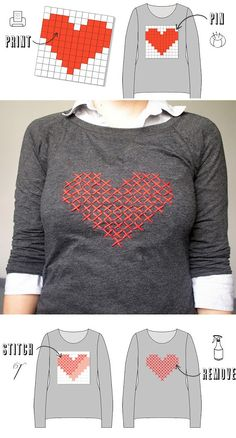 DIY: Cross Stitch Heart Sweater