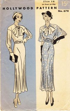 """Bust 36"""" - Vintage 30s Dress Pattern - Hollywood Pattern 678 - Misses' and Woman's Frock in Two Variations"""