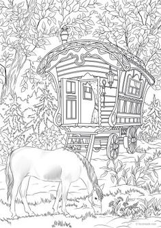 Wagon - Printable Adult Coloring Pages from Favoreads Animal Coloring Pages, Free Coloring Pages, Coloring Sheets, Coloring Books, Coloring Pages Inspirational, Printable Adult Coloring Pages, Rag Dolls, Fabric Dolls, Jeep Covers