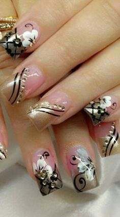 33 Trendy nails almond flowers art designs - New Ideas Almond Nails Designs, Toe Nail Designs, Acrylic Nail Designs, Acrylic Nails, Fabulous Nails, Gorgeous Nails, Pretty Nails, French Nails, Trendy Nail Art