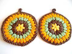 Vintage Set of Crocheted Brown Orange & Green Hot Pads by TimelessTreasuresbyM on Etsy
