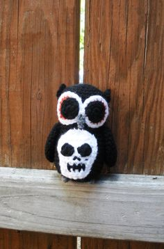 Little Black Plush Crochet Owl with skull applique by luvbuzz, $20.00