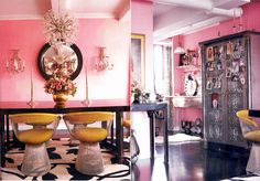 Betsey Johnson's pink loft - of course her place would be amazzzzzzzing!  I'm in love with that dining room!