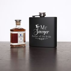 Father Of The Bride Personalised Black Matte Hip Flask.  Designed and personalised by Treat Gifts, London.
