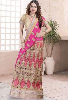 Amazing Rani Pink Lehenga Saree