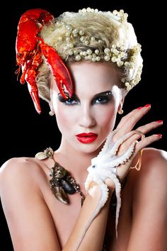 'Sea Food' Make-up & Hair Shoot     Using a Lobster, Mussels and a Octopus     'Food Inspired' Portfolio       Photographer: Rich Hinton   Model: Emily Hilton   Make-up & Hair: Karla Powell #JoesCrabShack