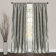 lush decor velvet dream silver 84inch curtain panel pair silver size 40 x 84 polyester solid - 96 Inch Curtains
