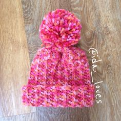 Super Chunky pink mix crochet bobble hat for my daughter