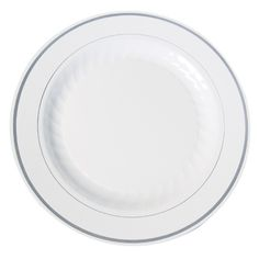 Masterpiece White Silver Plastic Dinner Plates Gone  sc 1 st  Pinterest & Posh Party Supplies - Stunning Disposable White with Silver Rim ...