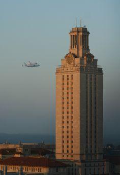 Shuttle #Endeavour flying next to the UT Tower #spottheshuttl... on Twitpic