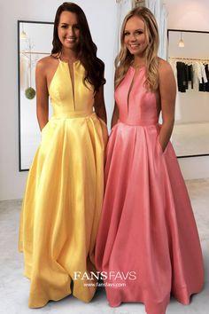 Shop Princess Scoop Neck Satin Floor-length Pockets Prom Dresses UK at FansFavs. Choose from a range of Prom Dresses online. Affordable Price, Buy Now! Princess Prom Dresses, Prom Dresses Online, Mermaid Prom Dresses, Cheap Prom Dresses, Prom Gowns, Yellow Dress, Pink Dress, Prom Dresses With Pockets, Satin