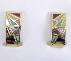 EARRINGS : yellow gold, 2 diamonds 0,14 ct. and enamels. size: 17 x 8  mm. 05MA0069