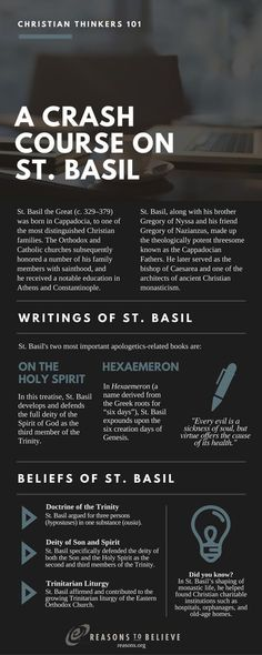 """Not many people are known as so-and-so """"the Great."""" But St. Basil the Great was one of the finest thinkers, writers, and preachers in Christian church history. Early Church Fathers, Reformed Theology, Covenant Theology, Religion, Christian Apologetics, St Basil's, Church History, Orthodox Christianity, Christian Faith"""